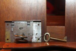 Antique Lockset and 2 Brass Skeleton Keys Furniture Drawers Doors