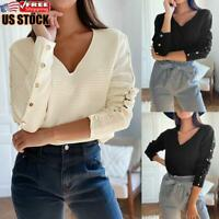 Women's Long Sleeve Jumper Blouse Tops Ladies Casual V Neck Sweater Pullover