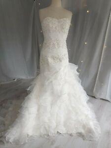 Wedding Dress JJ House Strapless Lace Organza Frills Classic Romantic White...