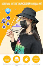 Removable Anti Spitting Dust Face Cover Fisherman Hat Adult Kids Protective Cap