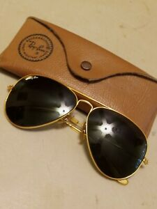 VINTAGE RAY BAN AVIATOR SUNGLASSES 58 14 GOLD FRAMES WITH CASE