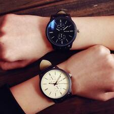 Women's Mens Fashion Casual Leather Band Quartz Analog Dress Alloy Wrist Watch