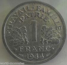 1 franc état français 1944 : TTB : pièce de monnaie française