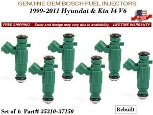 6X Fuel Injectors 2003-2006 Hyundai Santa Fe 2.7L/3.5L V6 OEM Bosch #35310-37150