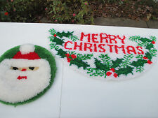 Christmas Rug Toilet Seat Cover Hand Made Latch Hook Santa Holly Bathroom Set 2