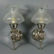 Vintage French Empire Style Torch Chrome Wall Sconce Pair Etched Glass Shades