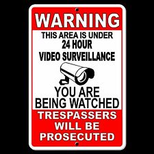 Warning This Property Under 24 Hour Video Surveillance Sign security cctv S004
