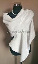 Ivory Faux Fur Shawl -Satin Lining Wrap/Stole/Bolero/Tippet/Jacket/Wrap New
