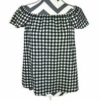 J Crew Womens XS White Black Gingham Off The Shoulder Top NEW