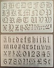 SET OF 2, 30 mm OLD STYLE ENGLISH ALPHABET STENCILS LETTERS STENCIL-P/1605,1610