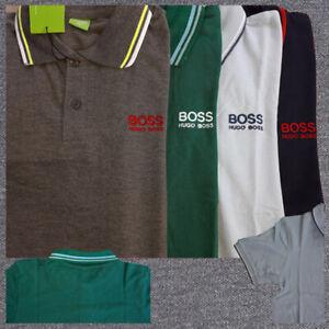 Men's T-Shirts NWT Boss Hugo Boss Short Sleeve Jacquard Collar 100% Cotton
