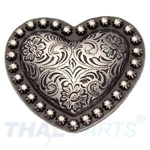 Concho #051 32mm Western Herz Heart Concho Antik Silber Conchos Concha