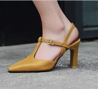 New Stylish Pointed Toe Leather Ankel Strap High Heel Pumps Shoes Women Sandals
