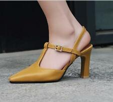 Women New Stylish Pointed Toe Leather Ankel Strap High Heel Pumps Shoes Sandals