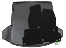 AUDI A4 B6 / B7 SALOON 2000-2008 Tailored black floor car mats + boot tray mat