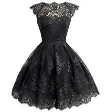 Womens Fit/&Flare Mini Dress Skater Party Lace V Neck Sequin Embossed Overlays UK