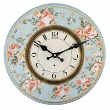 Large Shabby Chic Vintage Inspired Peach Rose Floral Wooden Wall Clock 42316