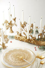 Anthropologie Arden Taper Candle Holder fir candelabra & two fir tapers lodge