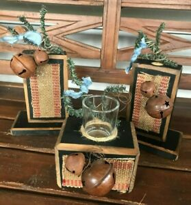 Country Primitive Christmas 3 Piece Wooden Votive Holder & Taper Candle Holder