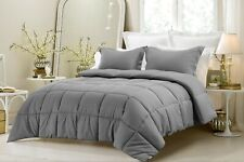Soft Comforter Down Alternative 200 GSM Egyptian Cotton Queen Size Grey Striped