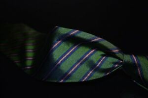 NWT Brooks Brothers Made in USA Green Textured Blue Grape Inset Repp Silk Tie NR