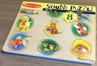 Melissa & Doug Pets Sound Puzzle Wooden 8 pcs Learning Kid Animals Horse Dog 372