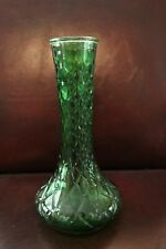 Vintage Emerald Green Hoosier Glass Vase 4095 Quilted Diamond Design