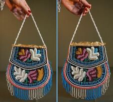Beautiful 1890 Native American NE Iroquois Fully Beaded Two Sided Purse Bag