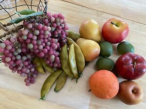 Lot of Artificial Fruits and Vegetables, Grapes, Apples, Peas, Limes, Pear