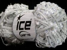 Metallic Butterfly Glitz #45520 Ice White Silver Sparkly Flag Yarn 50gr