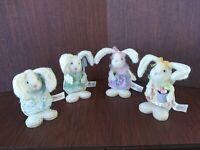 LOT of 4 Wood and Felt Plush Easter Bunnies - Dan Dee Collectors 4 inch