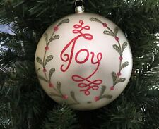 "5"" JOY Glass Disc Ornament Satin Ivory White w Red Green Glitter Mistletoe x 1¾"""