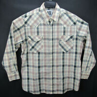 Rock Creek Ranch Men's Size XL Long Sleeve Pearl Snap Western Shirt Plaid