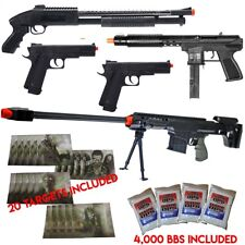 NEW Lot of 5 Airsoft Guns Sniper Rifle Shotgun Machine Pistols & 1,000 6mm B