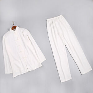 new beige  chinese men's cotton/linen long sleeves kung fu suit pajamas S-2XL