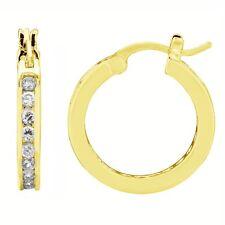 Sterling Silver Channel Set CZ Hoop Earrings Gold Overlay 22mm Hoops