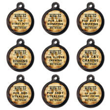 WANTED PET TAGS Personalised Pet Dog Cat Name ID Tags For Collar - Engraved FREE
