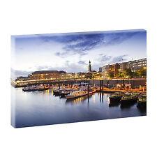 Hamburg Hafen Bild auf Leinwand Wandbild Kunstdruck  Poster Deko 100/65 cm 208