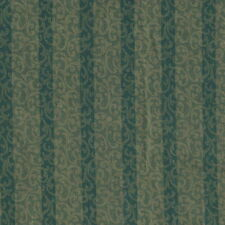 QUILT FABRIC By The Yard: GREEN STRIPE FLORAL SCROLL 1212610, 100% Cotton