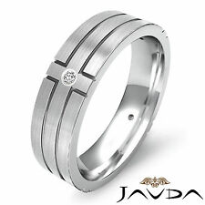 Wedding Solid Band Platinum 950 0.30Ct Round 4 Bezel Diamond Ring Mens Eternity
