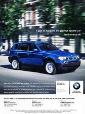 2005 BMW X3 SAV in blue  - Classic Car Advertisement Print Ad J74