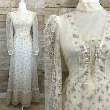 VTG 70s Gunne Sax Boho Wedding Dress Sz M 6 Floral Prairie Lace Long Sleeves