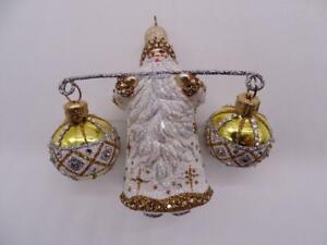 Patricia Breen Designer Glass Christmas Ornament Santa Claus Tight Rope White