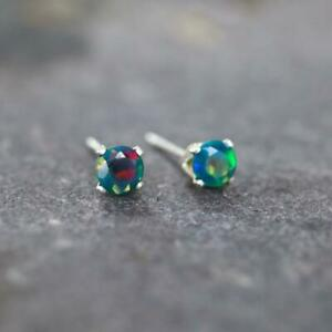 Sterling Silver 4mm Round Faceted Black Ethiopian Opal Stud Earrings Gift Boxed