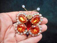 Vintage Amazing CZECH Oversize Rhinestone Butterfly Brooch/Pin