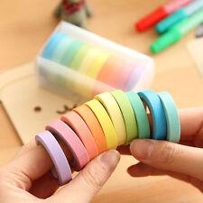 10x Writable Rolls Paper Washi Masking Tape Rainbow Colours Sticky Adhesive