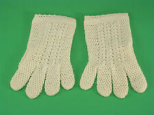 Creamy White Stretch Nylon Hand Crocheted Women's Gloves Made In Italy