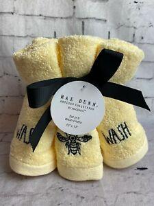 """Rae Dunn Wash Bee Washcloths 13x13"""" Set of 6 Hand Towel (H37)"""