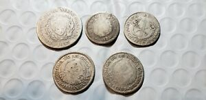 Early Colombia silver coins 1836,1838,1839,1852 1 real, 1853 2 reals