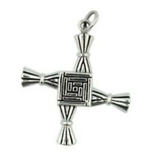 "Brigid Cross Amulet 1.25"" NEW Pewter Pendant Celtic St. Bride Silver - US Made"